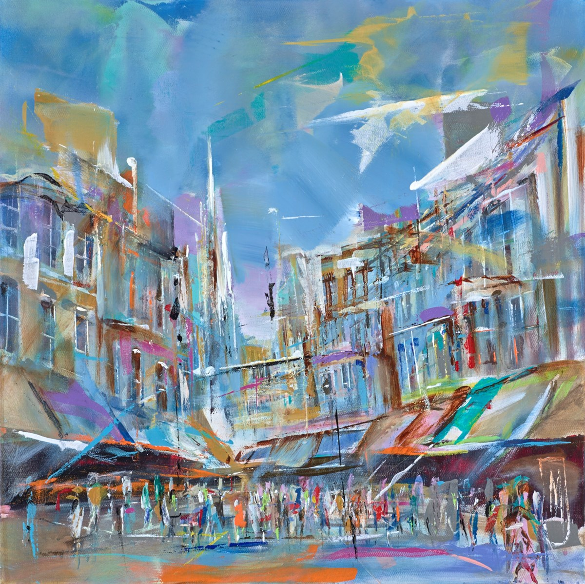 Shoppers and Walkers by marijus jusionis -  sized 24x24 inches. Available from Whitewall Galleries